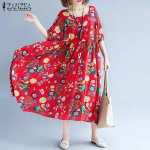2020 ZANZEA femmes imprimé floral Robe d'été Robe longue femme Robe Vintage en vrac Casual Robe Femme Maxi Dress Plus Size