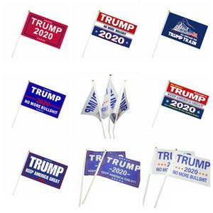 ساحة اليد العلم 14 * 21CM يلوحون العلم لافتات الديكور العلم 2020 رئيس الولايات المتحدة الأمريكية دونالد ترامب الرئيس راية اليد الانتخابات الأعلام DHC1482