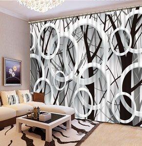 Luxury European Modern black and white tree custom curtain fashion decor home decoration for bedroom