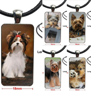 Yorkshire Terrier Yorkie Dog Brand Steel Color Jewelry Fashion Statement Necklace Glass Necklaces Pendants For Unisex Party Gift