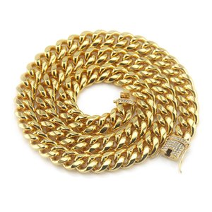2018 Europe and America micro-set Rhinestone Miami Cuban chain hipster hip hop men's 20&24&28 inch white personality necklace wholesale