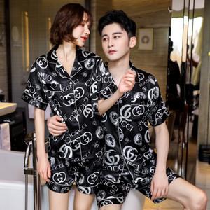 Coppia raso di seta Pigiama Pajamas Set fiore lungo manica Stampato Sleepwear Pijama Homewear donne e gli uomini di sonno 2PC Set Loungewear Inoltre Si # 308