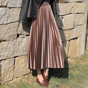 Printemps 2020 Femmes Long Metallic Silver Maxi Jupe plissée Midi Jupe taille haute Velour Elascity Party Casual Jupe
