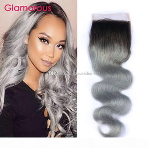 #1B Grey Ombre Hair Lace Closure Two Tones Ombre Gray Brazilian Body Wave 4x4 Top Lace Closure with Baby Hair