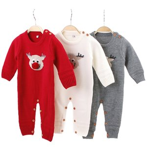 Christmas Baby Clothes Autumn Winter Knitted Baby Romper Deer Newborn Boy Romper Infant Jumpsuit Cotton Toddler Girl
