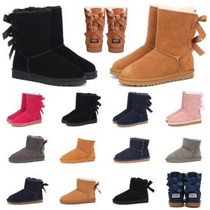Größe US-5-10 2020 Bow-Knoten WGG Womens Designer klassische hohe Hälfte Boots-Bogen-Frauen-Mädchen Schnee-Winter-Stiefelette Lederschuhe 36-41