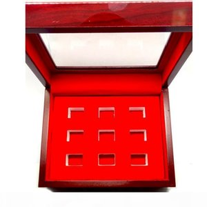 New wooden 9 hole display box champion ring red display box manufacturers fast shipping