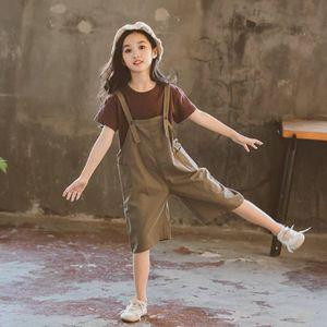 Hot Sale Baby Girls Summer Clothes Fashion Cotton Set Casual Suit T-Shirt + Short Bib Pant 2 Pieces Children Clothing Outfits X0923