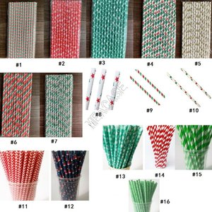 Biodegradable Disposable Paper Drinking Straws Christmas Halloween Drinking Straws Birthday Wedding Party Bar Tools Eco-friendly Straw D9711