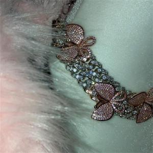 GLAMing الوردي الكوبية رابط الفراشة المختنق قلادة المرأة بلينغ قابل للتعديل الكريستال حجر الراين قلادة سلسلة رجل فضي اللون