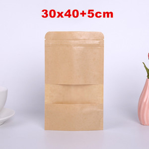 30*40cm Kraft Paper Bag Stand Up Gift Dried Food Fruit Tea Packaging Pouches Kraft Paper Window Bag Retail Zipper Self Sealing Bags