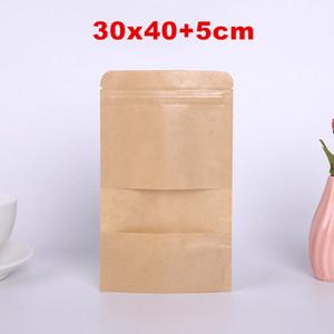 30*40cm Kraft Paper Bag Stand Up Gift Dried Food Fruit Tea Packaging Pouches Kraft Paper Window Bag Retail Zipper Self Sealing Bags