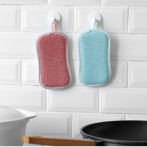 Double Sided Scouring Pads Reusable Magic Sponge Cleaning Cloth Kitchen Cleaning Tools Brush Wipe Pad Decontamination Dish Towels OOA9675