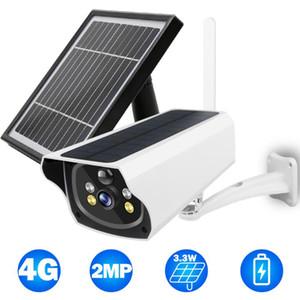 4G IP 카메라 야외 1080P HD CCTV 카메라 무선 홈 보안 배터리 전원 외부 3.3W 태양 광 패널 컬러 나이트 비전