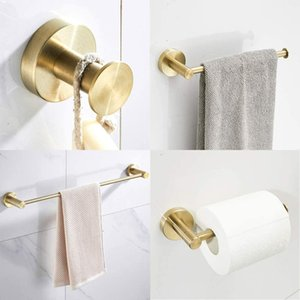 Shower Robe Accessories Towel Luxury Bath Bathroom Set Round Gold Stainless Steel Mount Hook Holder Wall Towel Brushed Ring Base WuMYM