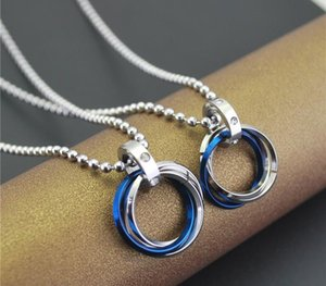 Simple tricyclic Ms. couple necklace pendants men and one pair three times European style long sweater chain11