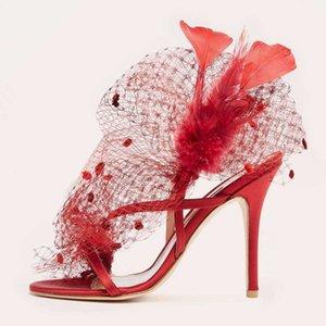 Womens Peep Toe piuma sexy Mesh stiletti Tacchi alti Slingbacks Sandali Scarpe Flower Pumps Nero Rosso Vera Pelle