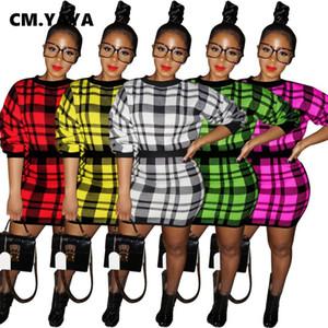 Женская Tracksuit Классический плед трикотажные женщин Комплект с длинным рукавом свитера Midi мини юбки Набор Tracksuit Фитнес двухкусочный Нижнее платье