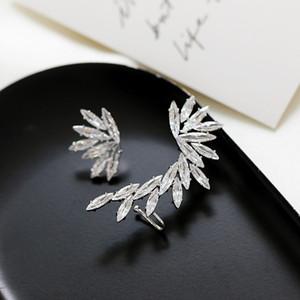 Korean fashion luxury asymmetric shiny zircon feather ear clip earrings jewelry women brand high quality ear clip high-end gift earrings