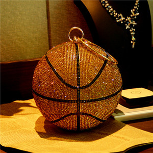 Designer- abeja en Fly baloncesto bola redonda monederos Embrague de oro para el partido de cena noche de las mujeres del Rhinestone bolsos de las señoras bolsa