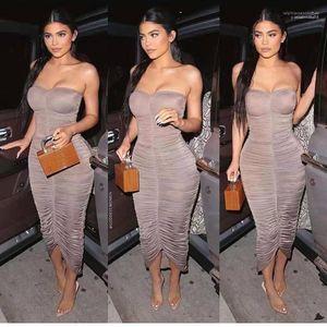 Женская одежда Ким Kardashian Bodycon Платья Pliated Peplum Sexy Damies Club Платья мода без бретелек