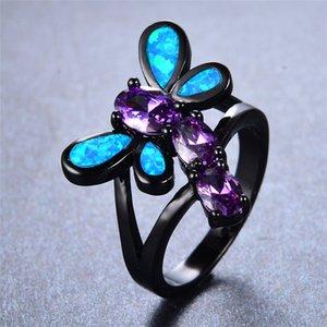Kadınlar Promise Mor Oval nişan yüzüğü için Sevimli Kadın Mavi Ateş Opal Ring Vintage 14kt Siyah Altın Yusufçuk Alyanslar