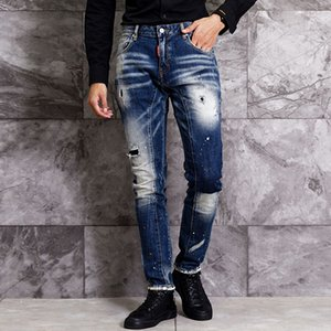 American Streetwear Fashion Men Jeans Elastic Slim Fit Ripped Jeans Men Retro Spliced Denim Pants Designer Hip Hop Homme