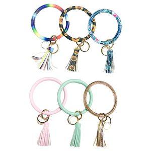 PU Leather Bracelet Style Keychain Floral Print Pattern Wristlet Keyring Gold Color Tassel Pendant Bangle Cuff Gift For Women