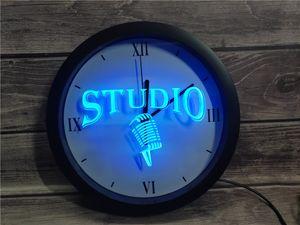 0B587 ستوديو على الميكروفون الهواء بار APP RGB LED ساعة الحائط ضوء النيون علامات