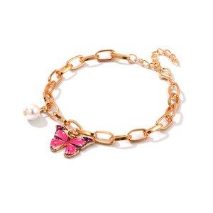 Ultime ragazze di disegno lega dei braccialetti di modo regolabile colorata catena del pendente a farfalla in oro fascino della perla del braccialetto per le donne