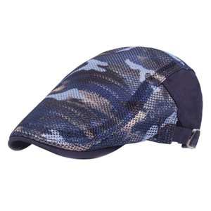 Men Women Mesh Cloth Flat Cap Summer Breathable Casual Hiking Polyester Hat Outdoor Adjustable Camouflage Sun Visor