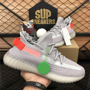 Box ile TOP Kalite 2020 Kanye West Bay Bayan Ayakkabı Koşu Zebra cüruf Kuyruk Işık Yansıtıcı İsrafil Asriel'den Keten Eğitmenler spor ayakkabısı
