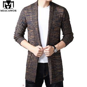 MIACAWOR Cardigan Men Casual Knitted Sweater Windbreaker Cotton Wool Sweater Coats Men Knitting Jumper Pull Homme Y167