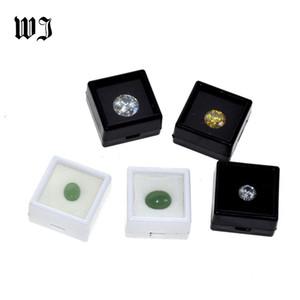 Оптовые Бриллиантовые Diamonds Box Сыпучие Diamond Jewelry витринного держатель Gem Show Контейнер для хранения Box Пластиковые Белый Черный T200917