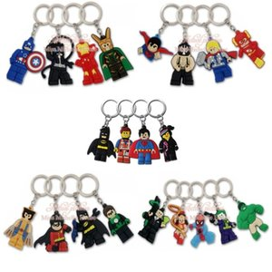 20pcs lot Superhero Cartoon Action Figure Keychain PVC Keyring Kids Gift Key Chain Key Cover Party Favor Chaveiro Jewelry