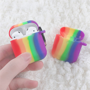 Rainbow Soft Silicone Earphone case with anti dust plug and Hooking Colorful headset protector case For Airpods 1 & Airpods 2