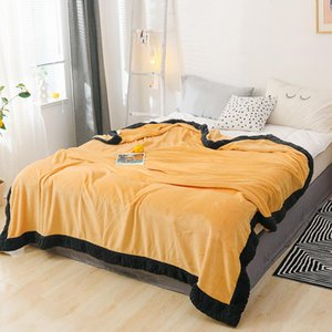Bonenjoy Yellow and Black Color Flannel Blanket on the Beds Soft Warm Bedspread Winter Coral Fleece Thow Blankets Plaid