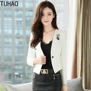 TUHAO White Black Jacket Work Women Blazer Solid Color Office Lady Blazer Women Long Sleeve Coats Woman Feminino WM19