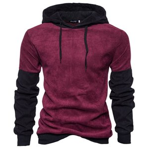 Hooded sweater Men Autumn and winter new Color matching pullover Casual Slim fashion All-match Sweatshirt Europe and America wholesale