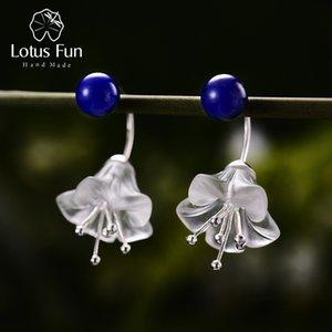Pendientes de flor de loto fresco diversión real Pendientes de plata de ley 925 Natural de cristal hecho a mano de joyería fina para la Mujer Brincos 200921