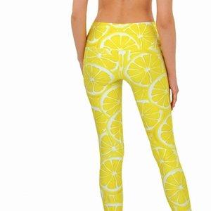Imprimir estilos Verão Sexy Digital Calças Leggings Mulheres Yellow Fruit Lemon Sporting a forma das mulheres da aptidão Leggings