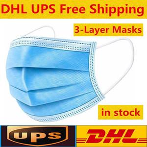 Jetable Masque 3 couche Oreille boucle poussière Masques bouche couverture 3-Ply Masque non-tissé à usage unique poussière souple perméable à l'air extérieur partie