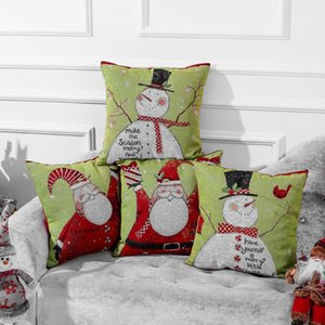 Rétro taie d'oreiller de Noël Imprimer Linge pillowslip Coussin Case Canapé voiture Coussin de Noël Décorations pour la maison Hôtel