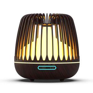 Air Humidifier Óleos Essenciais Difusor Ultrasonic Umidificador Wood Grain Humidify Air 7 Cor LED luz da noite para casa Novo