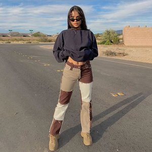 Enfriar Sweetown remiendo de la borla de los pantalones vaqueros de las mujeres 90s Pantalones Streetwear Carga gótico punky de talle alto para mujer de los pantalones rectos