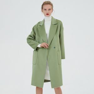 Hodisytian Handmade Luxury Women Trench X-long Coat Wool Cashmere Elegant 2 Buttons Wool Blends Solid Green Woolen Overcoat