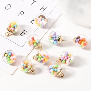 10pcs 16mm Colorful Candy Bubble Pendant Transparent Ball Charms Acrylic Pendant Finding Earrings Hair Jewelry Accessory FX001