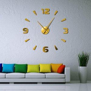 Assista Escritório Escola Interior Art Espelho parede Mute Frameless Big Clock Wall Stickers Decor Modern parede Diy grande relógio Início Kit bbyqcg bwkf