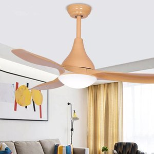LED 52-inch Nordic retro ceiling fan light bedroom home 1-6 gear fan with light integrated AC110V 220V mute with remote control