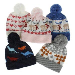5 couleurs pour bébé Enfants d'hiver Chapeau tricoté bébé Cartoon coeur d'amour de Noël Motif dinosaures conception hiver bébé Protection bonnets de l'oreille